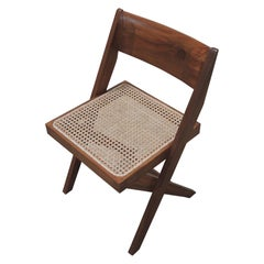 Pierre Jeanneret's Library Chair, Hand-Sculpted Contemporary Reedition