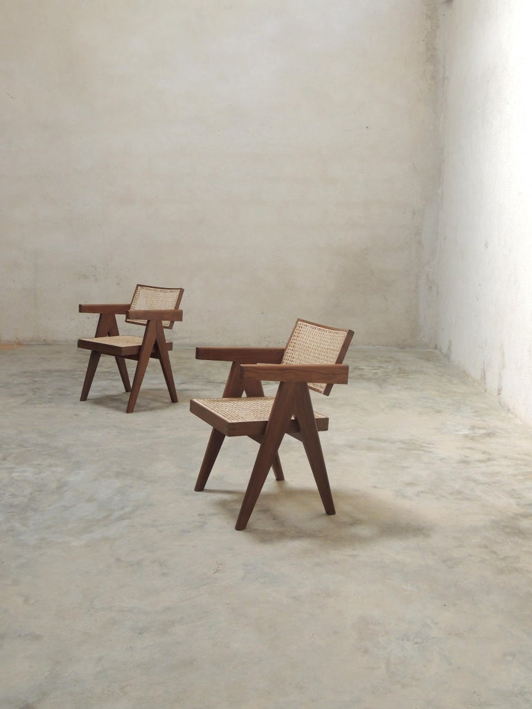 Pierre Jeanneret's Armchair, Hand-Sculpted Contemporary Reedition 8
