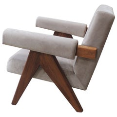 Pierre Jeanneret's Upholstered Armchair, Hand-Sculpted Contemporary Reedition