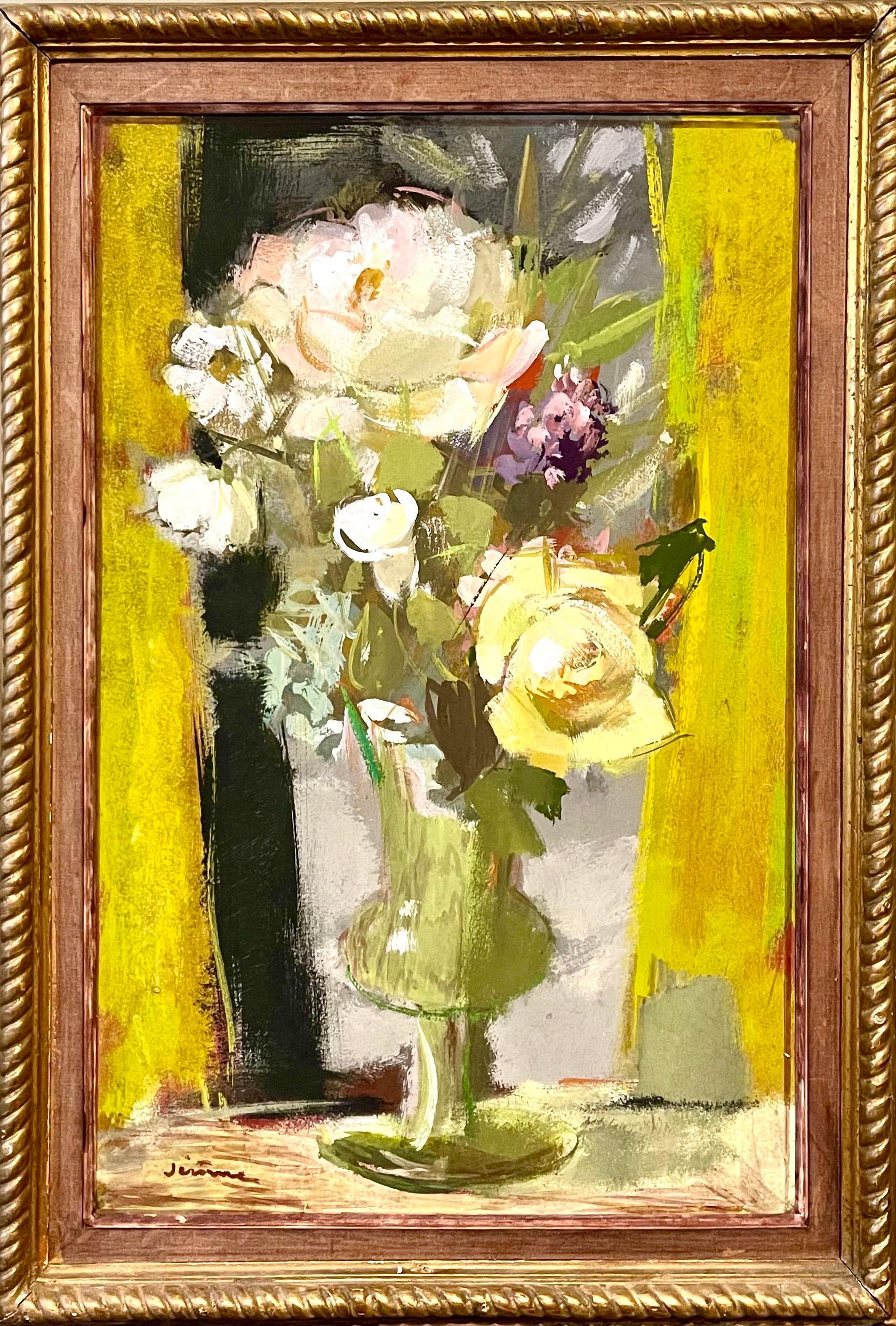 Vibrant Floral Oil Painting Vase of Spring Flowers Pierre Jerome Ecole De Paris