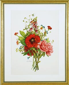 Framed Bouquet w/ Red and Pink Flowers