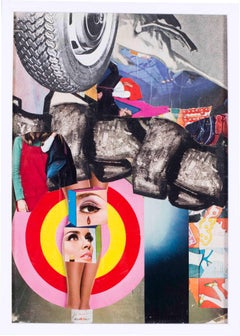 French, 1960s Pop Art Collage 'Teardrop' by French artist Pierre Jourda