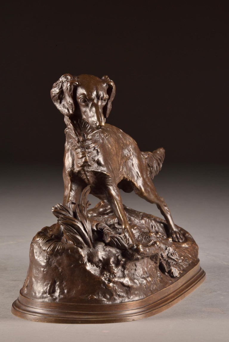 Pierre Jules Mêne (1810-1879) - Sculpture, beautifully executed image of a dog- Bronze (patinated) - mid-19th century  Dimensions: 33×23×14 cm Weight: 4.2 kg  A beautifully sculpture by Pierre Jules Mêne. During his lifetime he was already a