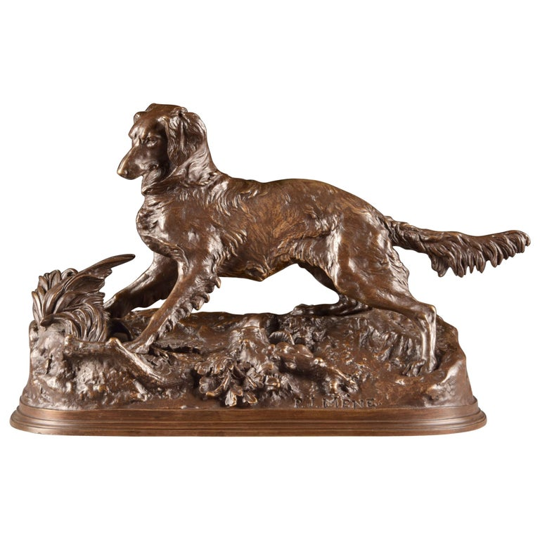 Pierre Jules Mêne '1810-1879', Sculpture, Beautifully Executed Image of a Dog For Sale