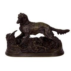 Pierre Jules Mene French Bronze Sculpture of Irish Setter Dog