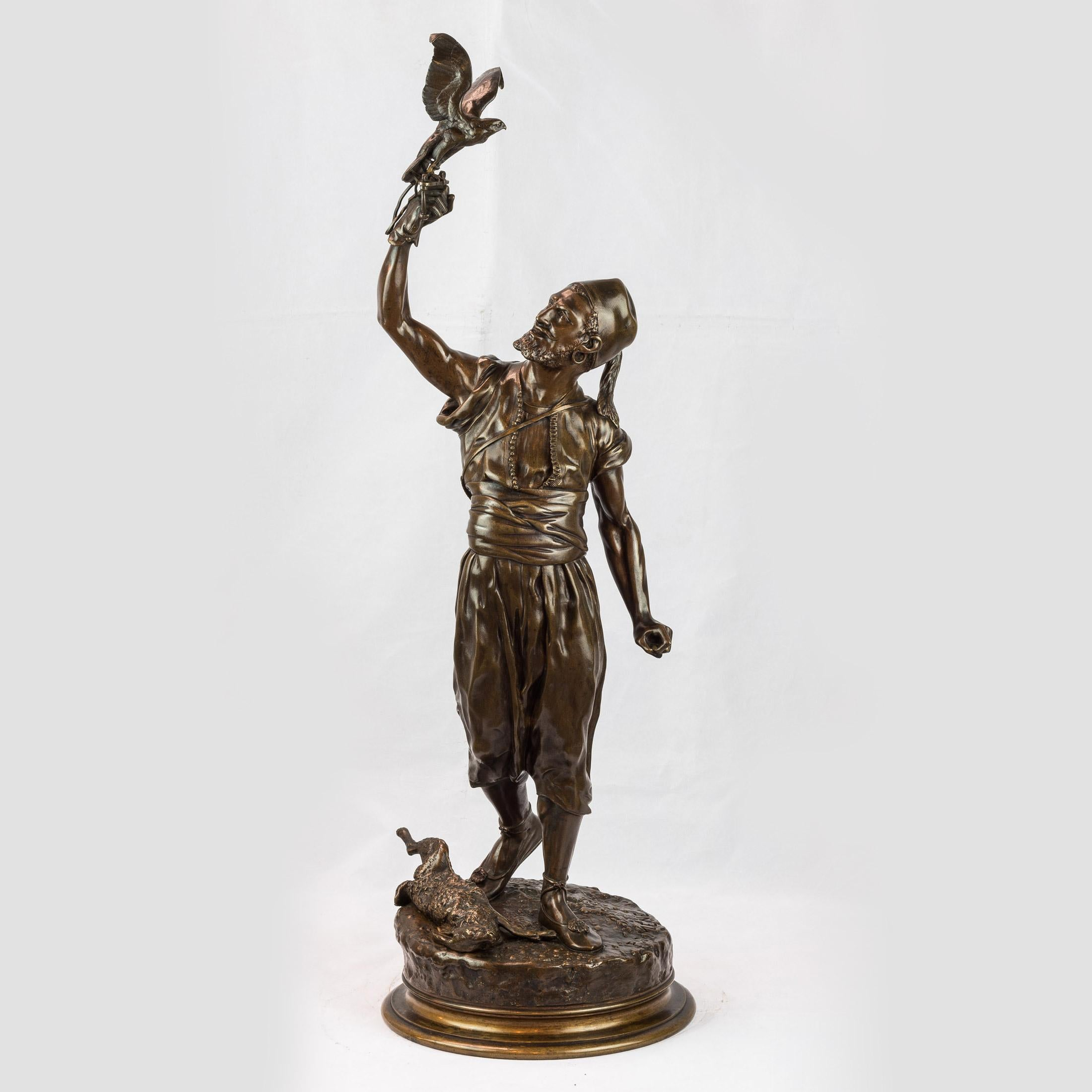 A Fine Pierre Mêne Patinated Bronze of A Berber and His Falcon