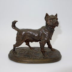 A French animalier bronze of a terrier signed P.J. Mêne.