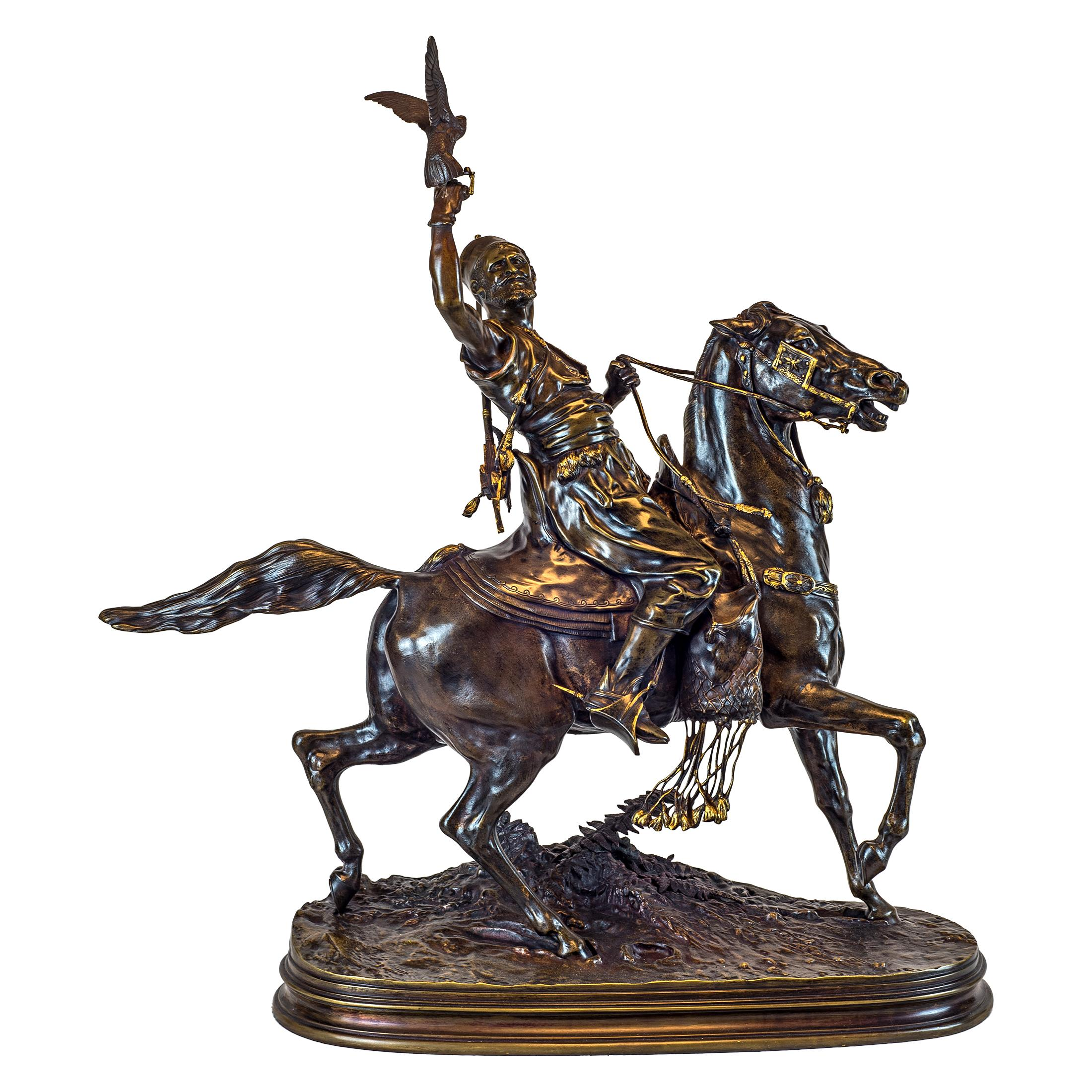 A Fine Pierre Jules Mêne Patinated Bronze of a Berber Horseman