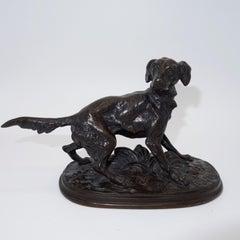 French Animalier bronze dog 'Diane' by Pierre-Jules  Mêne