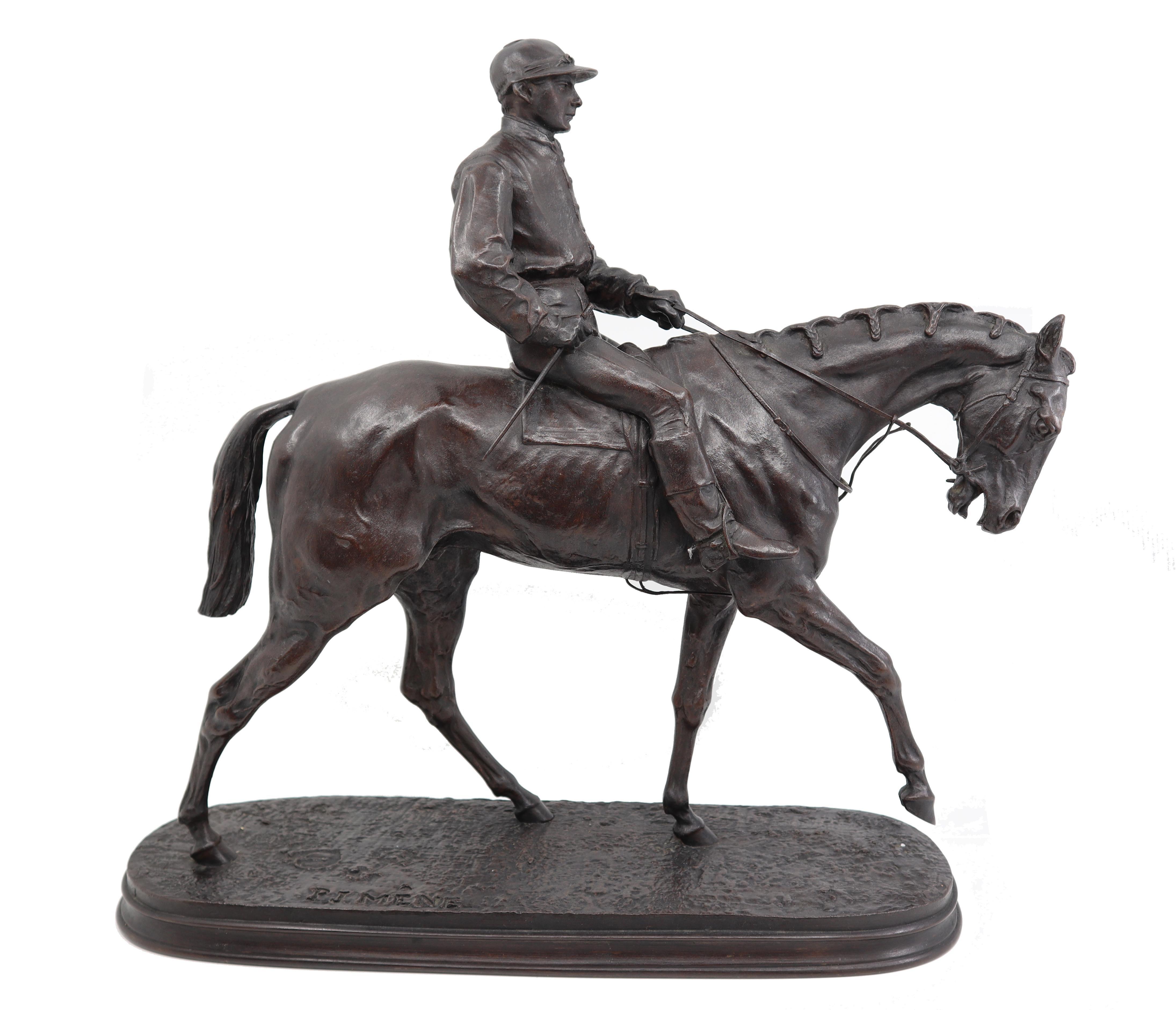 French Bronze Jockey on Horse