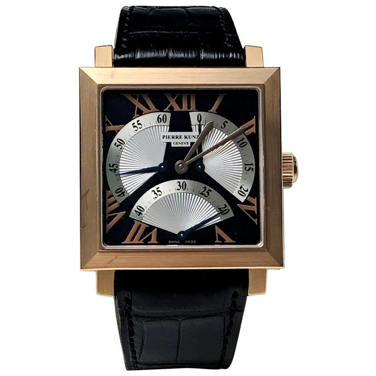 Pierre Kunz Spirit of Challenge Pink Gold Triple Retrograde Wristwatch For Sale