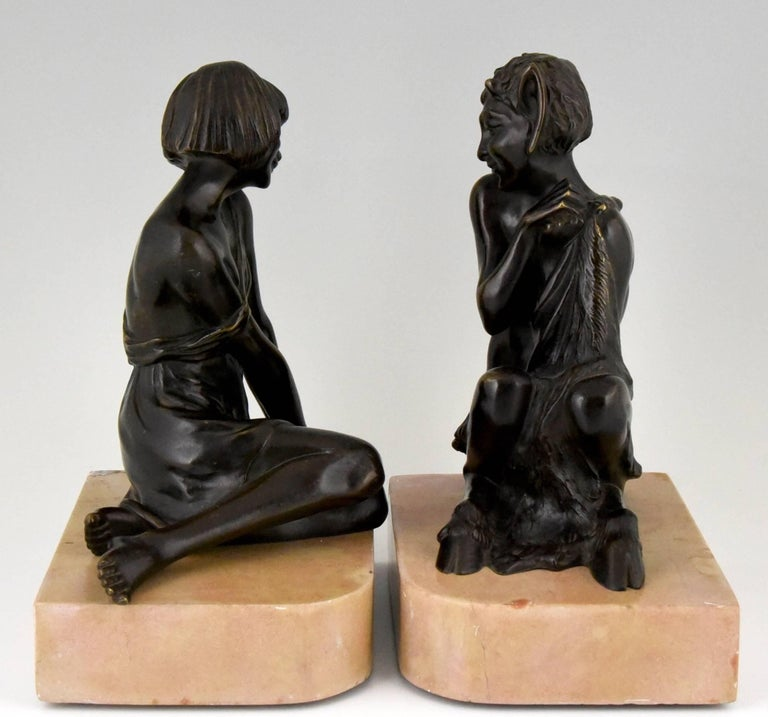 French Pierre Le Faguays Art Deco Bronze Bookends Satyr and Girl, France, 1930 For Sale