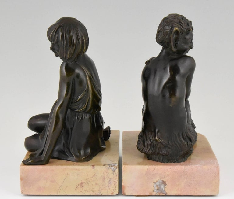 Patinated Pierre Le Faguays Art Deco Bronze Bookends Satyr and Girl, France, 1930 For Sale