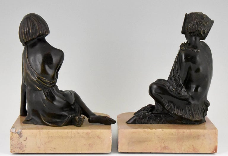 Pierre Le Faguays Art Deco Bronze Bookends Satyr and Girl, France, 1930 In Good Condition For Sale In Antwerp, BE