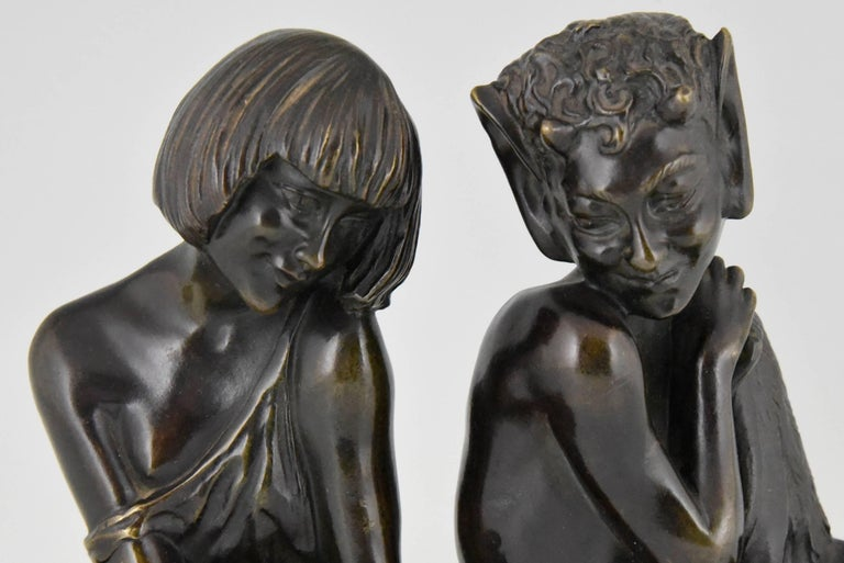 20th Century Pierre Le Faguays Art Deco Bronze Bookends Satyr and Girl, France, 1930 For Sale
