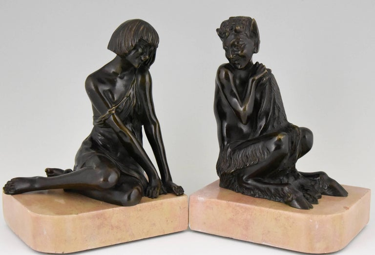 Marble Pierre Le Faguays Art Deco Bronze Bookends Satyr and Girl, France, 1930 For Sale