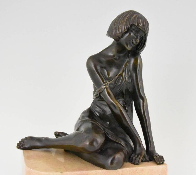 Pierre Le Faguays Art Deco Bronze Bookends Satyr and Girl, France, 1930 For Sale 1
