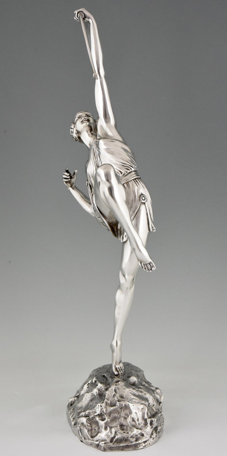 French Pierre Le Faguays Art Deco Silvered Bronze Sculpture Woman with Bow Diana, 1925