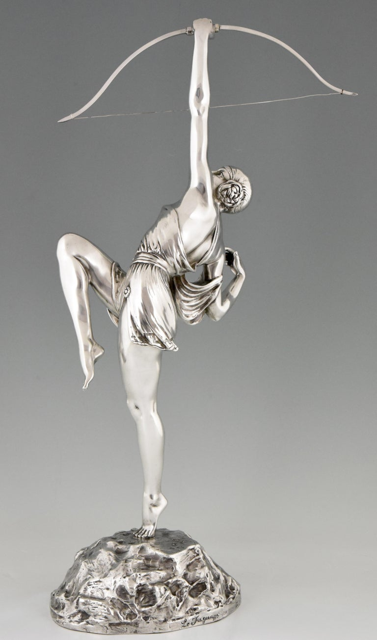 Pierre Le Faguays Art Deco Silvered Bronze Sculpture Woman with Bow Diana, 1925 In Good Condition In Antwerp, BE