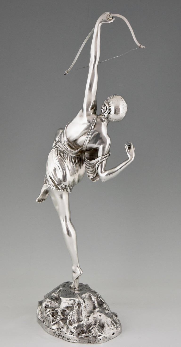 Early 20th Century Pierre Le Faguays Art Deco Silvered Bronze Sculpture Woman with Bow Diana, 1925