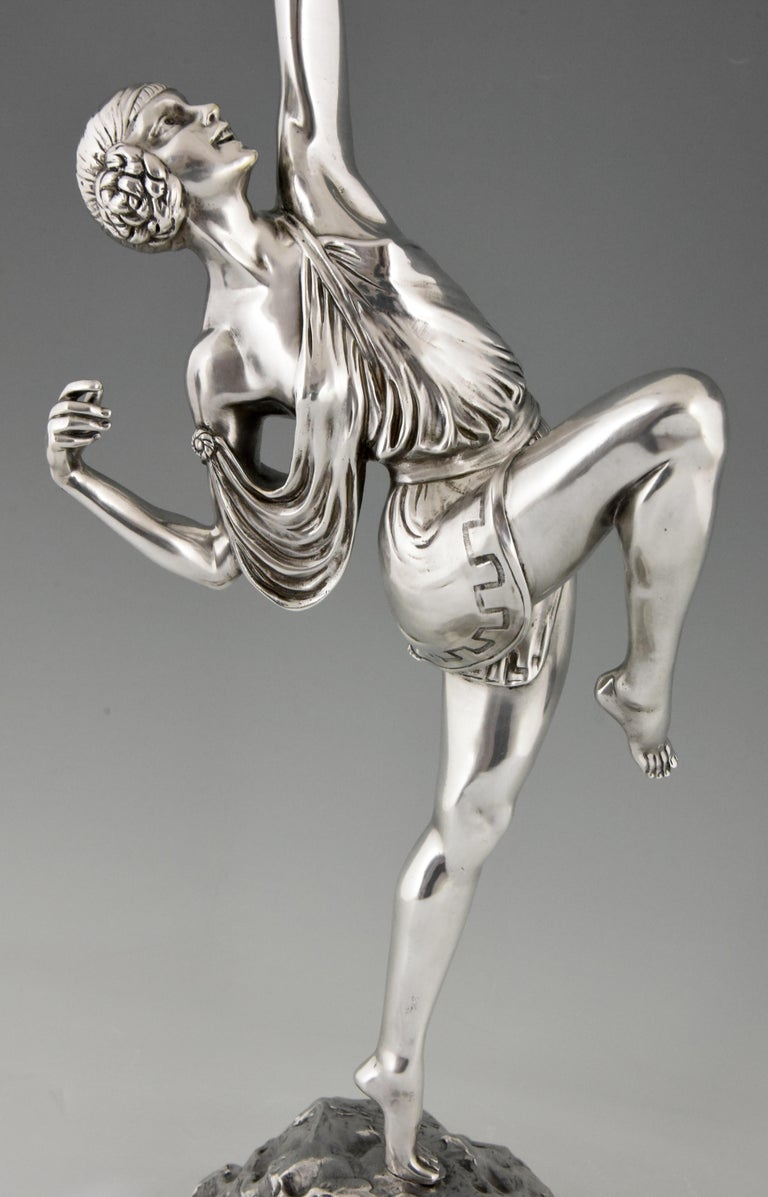 Pierre Le Faguays Art Deco Silvered Bronze Sculpture Woman with Bow Diana, 1925 2