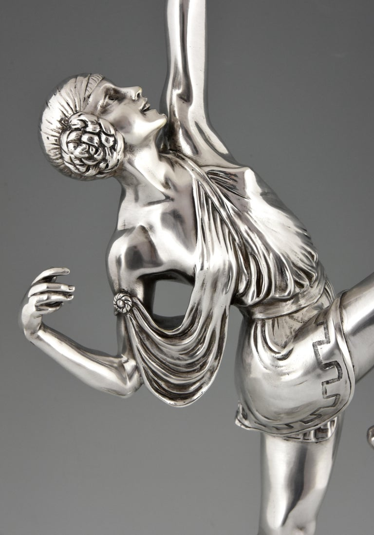 Pierre Le Faguays Art Deco Silvered Bronze Sculpture Woman with Bow Diana, 1925 3