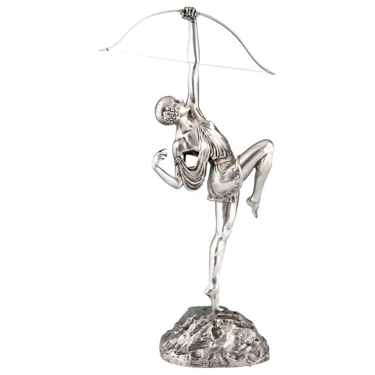 Pierre Le Faguays Art Deco Silvered Bronze Sculpture Woman with Bow Diana, 1925