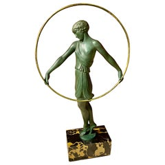 Pierre Le Faguays Dancer with Hoop Art Deco Green Patented Sculpture Fayral