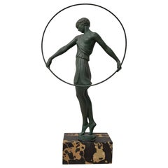 "Pierre Le Faguays ""Dancer With Hoop"" Art Deco Sculpture, circa 1930s"