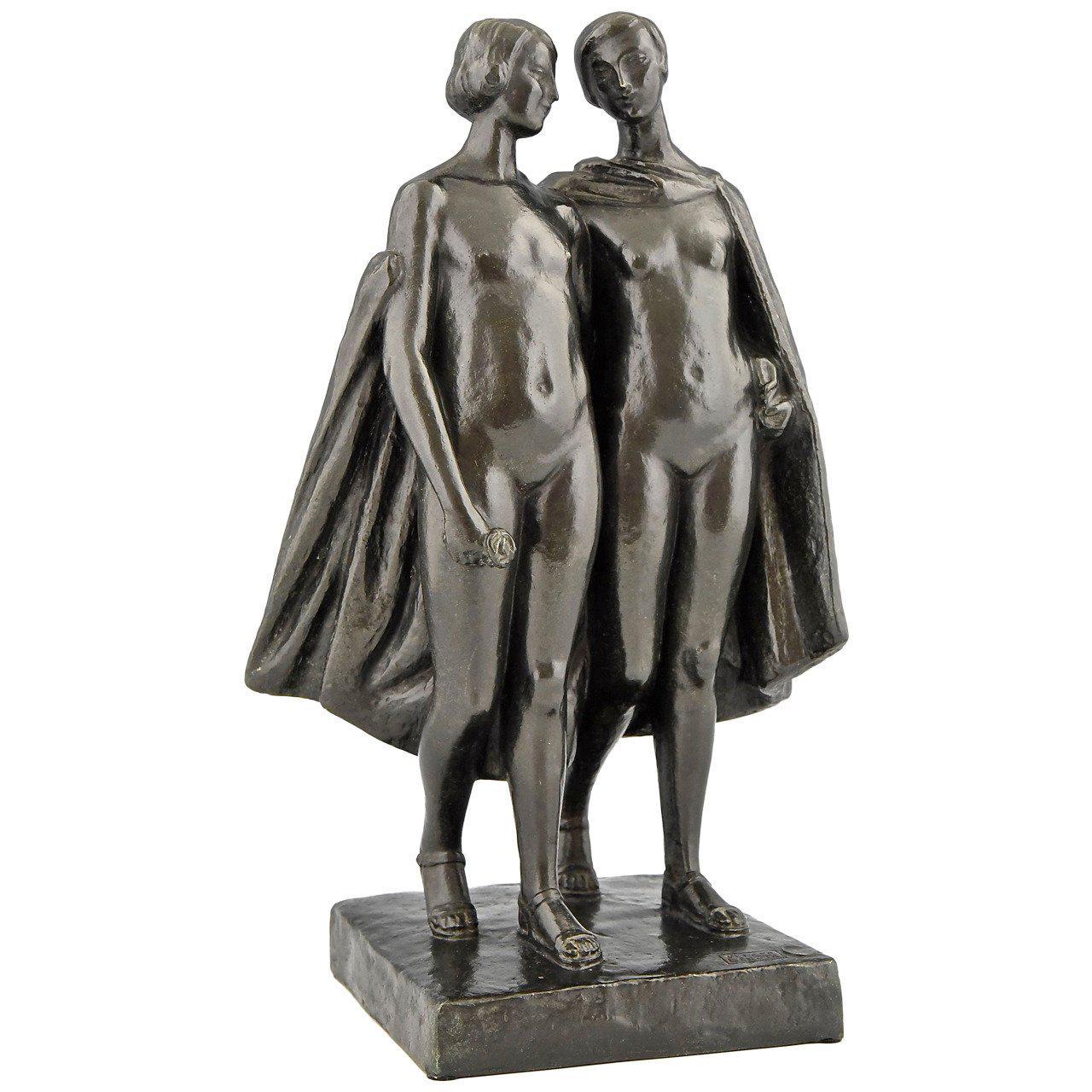 Pierre Lenoir Art Deco Bronze Sculpture of Two Nudes 1930  France