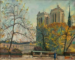 Pierre Lepage 'Notre Dame' 1940-50 Oil on Canvas Post Impressionist French