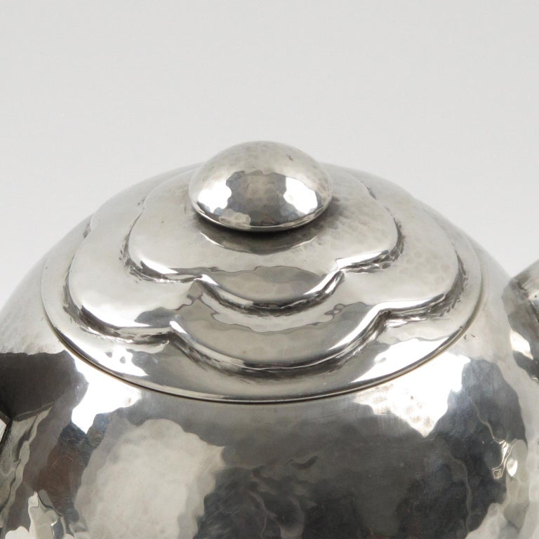 Mid-20th Century Pierre-Lucien DuMont French Art Deco Polished Pewter Tea or Coffee Set 4 Pieces For Sale