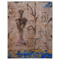 """Pierre Marie Brisson Oil and Mixed Media Painting Titled """" L' Ancetre"""" French"""