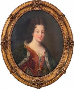 Antique French Portrait painting of a noble lady - young princess Mignard