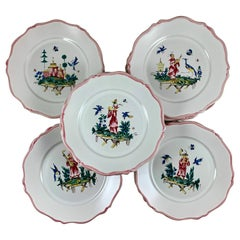 Pierre Motton, Gien Faïence Figural Chinoiserie Plates for Tiffany & Co. Set 12