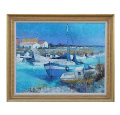 """Noirmontier"" Impressionist Seascape with Boats"