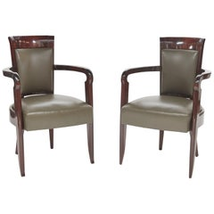Pierre Patout, Pair of Polished Mahogany Art Deco Armchairs, France, circa 1930s
