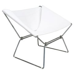 "Pierre Paulin AP-14 ""Anneau"" Butterfly Chair, New White Saddle Leather, AP Polak"