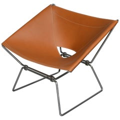 Pierre Paulin AP-14 'Anneau' Butterfly Chair with New Saddle Leather, 1950s