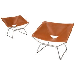 Pierre Paulin AP-14 'Anneau' Butterfly Chairs with New Saddle Leather, 1950s