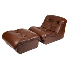 Pierre Paulin Artifort Lounge Chair and Ottoman in Chocolate Brown Leather 1970s
