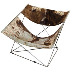 Pierre Paulin Butterfly Chair in Brown and White Cowhide