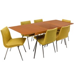 Pierre Paulin Dining Chairs and Gerard Guermonprez Extension Table France, 1950s