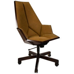Pierre Paulin Executive Chair Model 1031 for Baker in Cane Mahogany & Suede