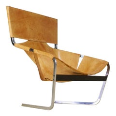 Pierre Paulin F 444 Lounge Chair in Brown Saddle Leather for Artifort, 1962