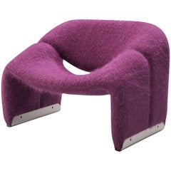 Pierre Paulin for Artifort 'Groovy' Lounge Chair in Purple Pierre Frey Fabric
