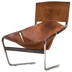 Pierre Paulin for Artifort Lounge Chair Model F-444 in Metal and Leather