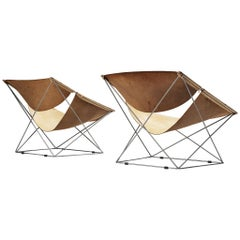 Pierre Paulin for Artifort Pair of 'Butterfly' Chairs F675 in Original Leather