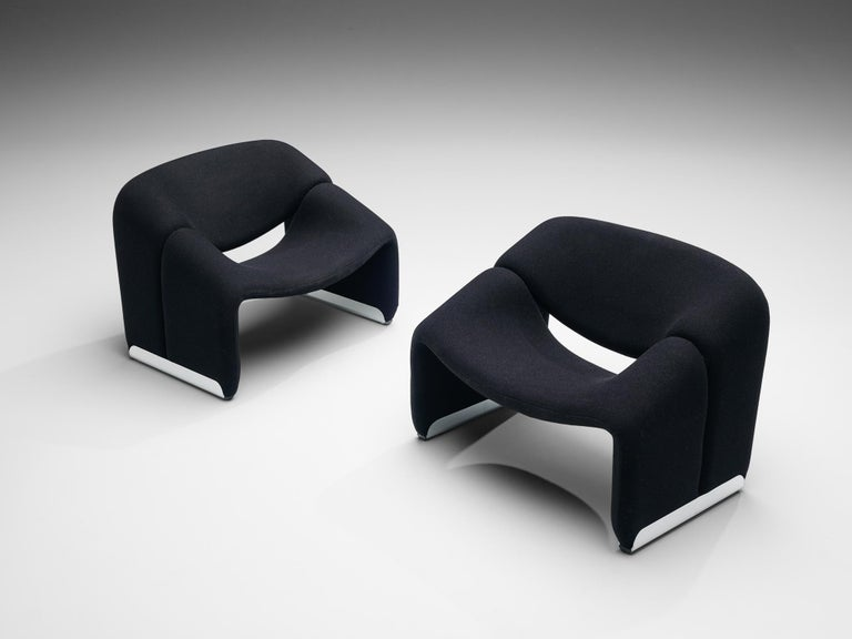 Pierre Paulin for Artifort, 'Groovy' lounge chairs model F598, black fabric and aluminum, The Netherlands, 1972.  Stunning Pop culture model by Pierre Paulin that emphasizes what the designer is best known for: new materials and fluid, seductive