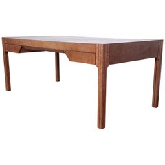 Pierre Paulin for Baker Art Deco Bird's-Eye Maple Leather Top Executive Desk